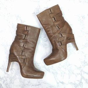 Boutique 9 Leather Strappy Heeled Boots Size 5 1/2